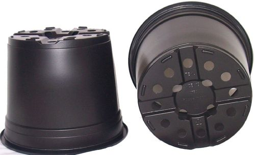 5 x 3 Litre Black Thermoformed Plant Pots
